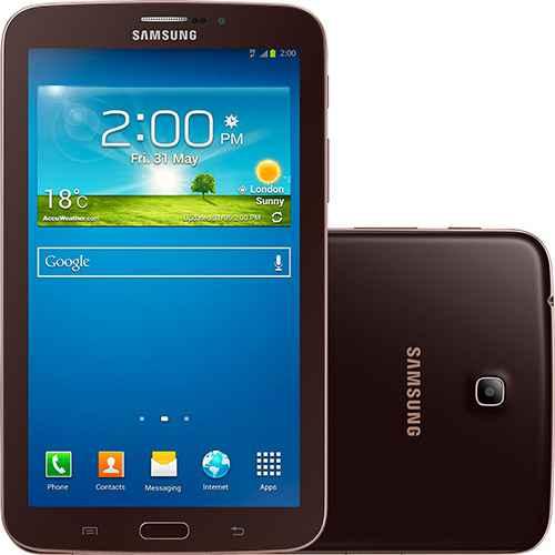 Melhor tablet Samsung Galaxy TAB 3 T211 com Android 4.1 Wi-Fi e 3G Tela 7 Touchscreen Marrom e Memória Interna 8GB - Desbloqueado